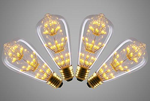 STG 3w LED Vintage Edison Light Bulb Squirrel Cage Edison Vintage Corn Bulb (4 Pack)