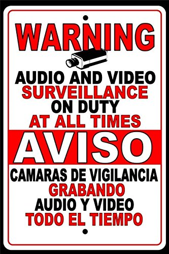 1Pcs CCTV Warning Security Surveillance Audio Video Camera Metal Sign Spanish English
