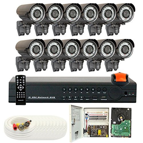 16 Channel (12) Varifocal Zoom 700 TVL Security Camera 2TB DVR Surveillance System – Vandal proof & Water proof 42pcs IR LED 131 ft IR Night Vision For Ourdoor / Indoor Use