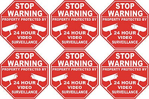 Lot of 6 Video Surveillance Security Stickers Vinyl Decals Size 3″ x 3″ each Reviews