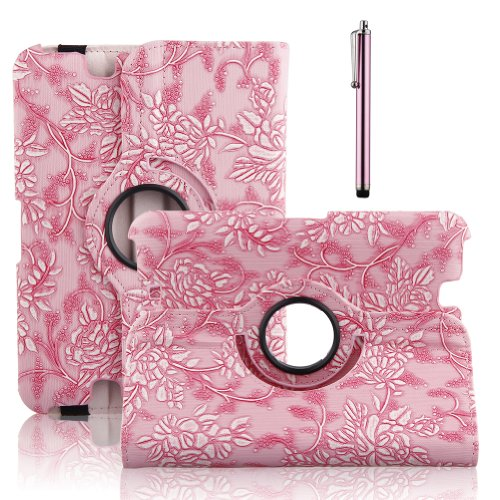 TOPCHANCES 360 Degree Rotating Stand Morden Smart Cover Case for 2012 Kinde Fire HD 7 Inch with Auto Sleep/Wake Function Built in Stand- Pink Emblossed Flower Reviews