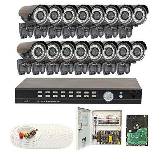 16 Channel (16) Varifocal Zoom 700 TVL Security Camera 3TB 960H DVR Surveillance System – Vandal proof & Water proof 42pcs IR LED 131 ft IR Night Vision For Ourdoor / Indoor Use