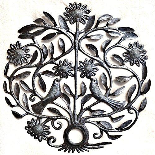 Tree of life, Wedding tree, love birds, Spring Garden Tree, Haitian Metal Wall Art Handcrafted Garden Sculpture Hanging Lid with Flowers and Birds (22.5″ x 22.5″)
