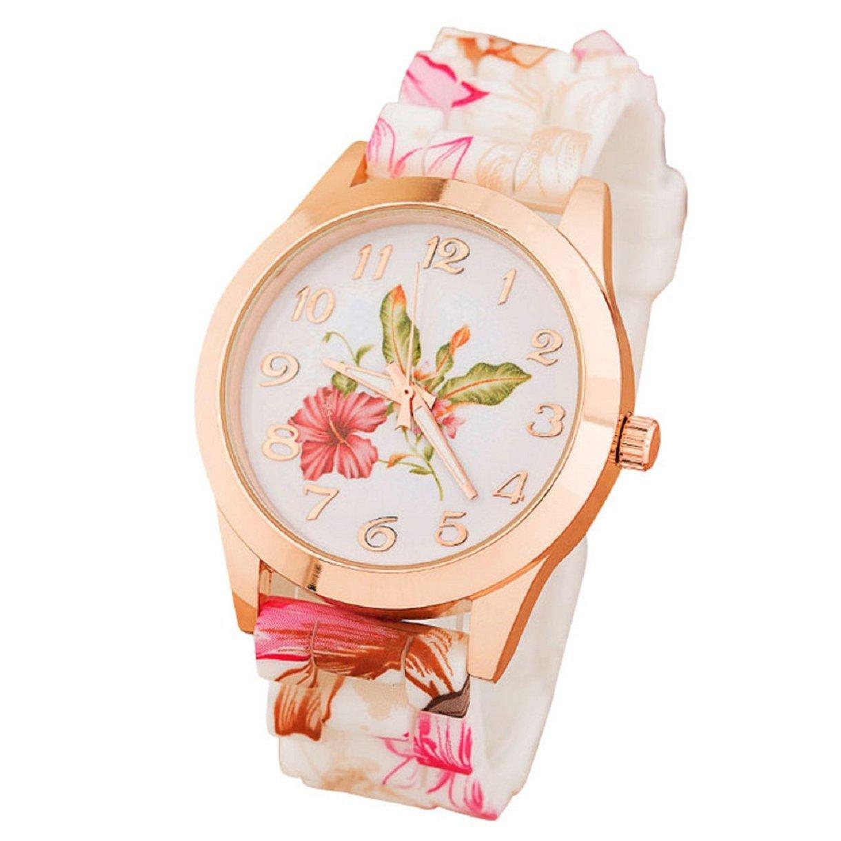 Sannysis(TM) 1PC Luxury Silicone Printed Flower Causal Quartz WristWatches