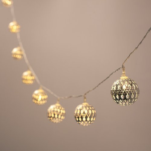 Battery Operated Silver Moroccan Orb Led Fairy Lights With