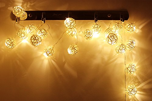 Battery Powered Rattan Ball Led Decorative String Light 2