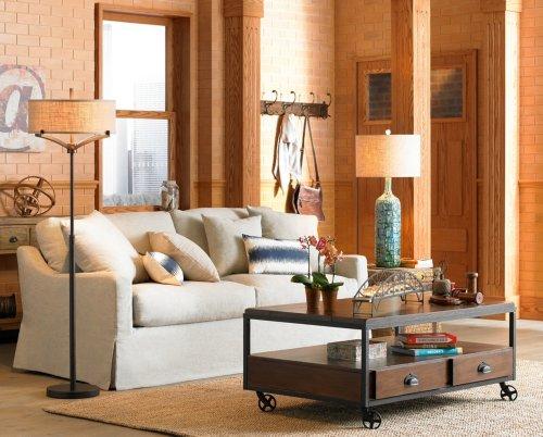 Franklin Iron Works Floor Lamp With Burlap Shade Bulbs Amp Fittings Ideas