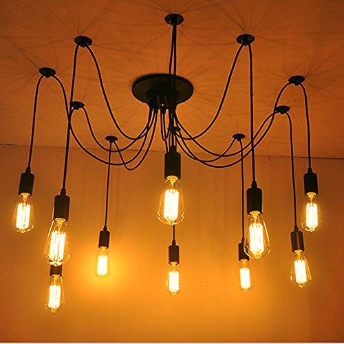 Fuloon Vintage Edison Multiple Ajule Diy Ceiling Spider Lamp Light Pendant Lighting Chandelier Modern Chic Dining