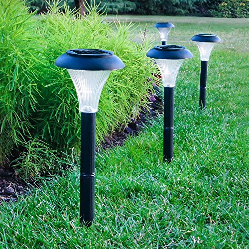Outside Lights No Earth: GardenJoy Solar Powered LED Garden Lights, Black, 10-pack