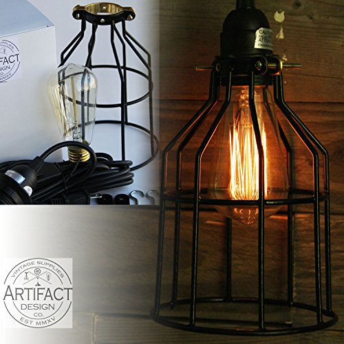 Industrial Cage Pendant Light With 15′ Toggle Switch Black
