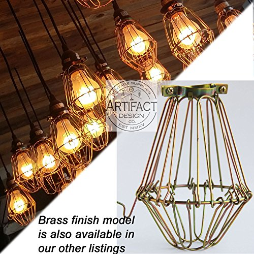 Vintage Style Hanging Pendant Light Fixture Metal Wire Cage
