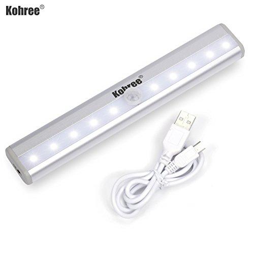 Kohree Rechargeable Led Night Light Motion Sensing Closet For Cabinet Wardrobe Bedroom Upgraded Version Emergency