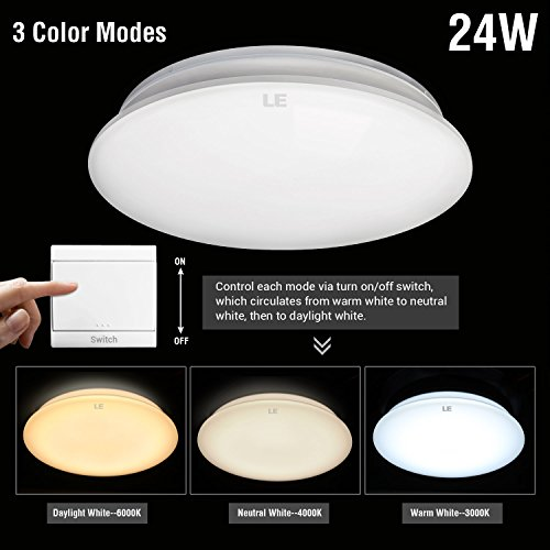 LE® 24W 16-Inch LED Ceiling Lights, 180W Incandescent (50W