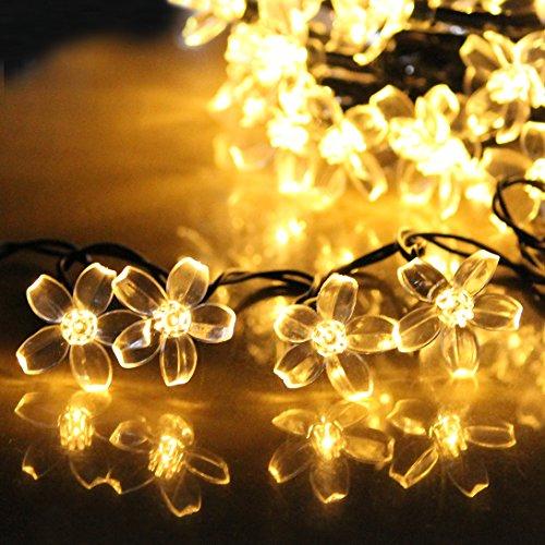 Lte 50 Led Solar Flower String Lights 23ft Outdoor