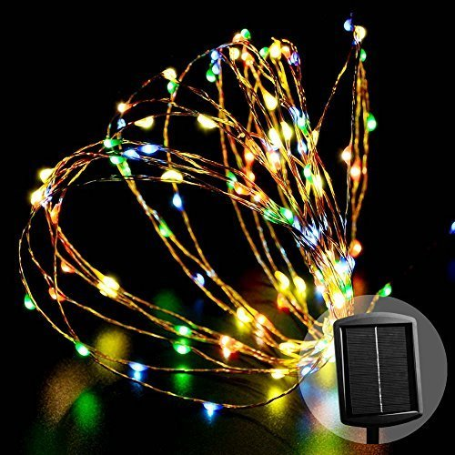 Luckled Outdoor Solar Powered String Lights 120 Led Multi