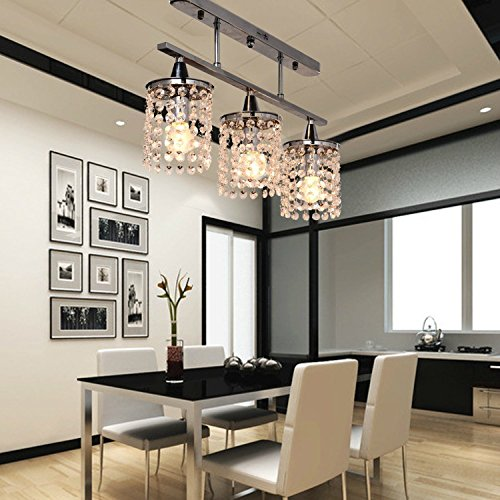 Linear Dining Room Lighting: OOFAY LIGHT® 3 Light Hanging Crystal Linear Chandelier With Solid Metal Fixture, Modern Flush
