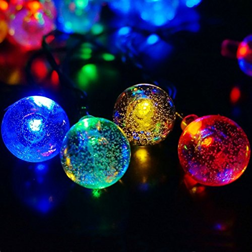 Outdoor Bistro Solar Powered Globe String Lights: Okcolorfal Solar Powered String Lights Outdoor Garden