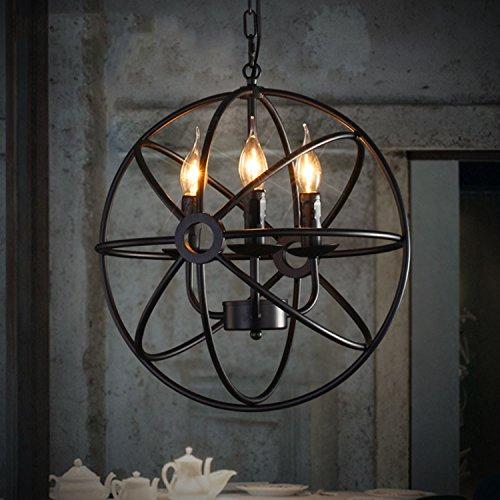 Perfectshow 4-lights Vintage Edison Metal Shade Round