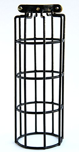 industrial vintage style metal wire cylinder cage for pendant style lamps  10 inch long  black