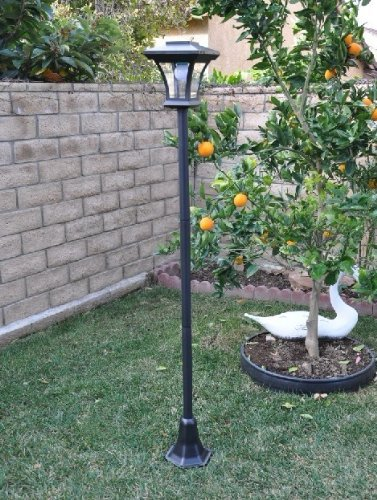 Solar Charged Led Lamp Post Decorative Yard Light With 3