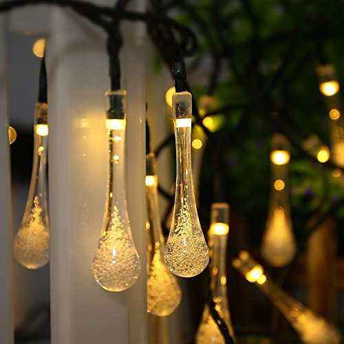 Outside Lights No Earth: Solar Outdoor String Lights, ICICLE 15.7 Ft 8 Light Modes