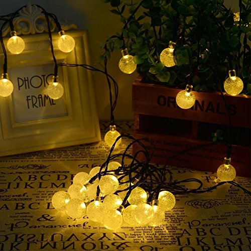 Outdoor Bistro Solar Powered Globe String Lights: Solar Power Globe String Lights (30 LED) For Indoor