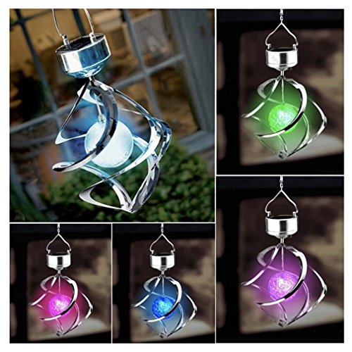 Solar Powered 7 Colors Changing Wind Chime Courtyard