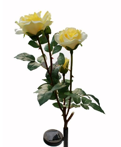 Solar yellow rose flower lights solar powered garden - Decorative garden lights solar powered ...