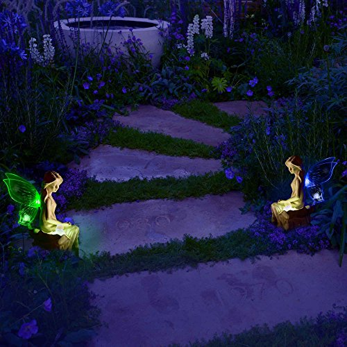 Solarduke Solar Angel Fairy Figurine Lights With Color