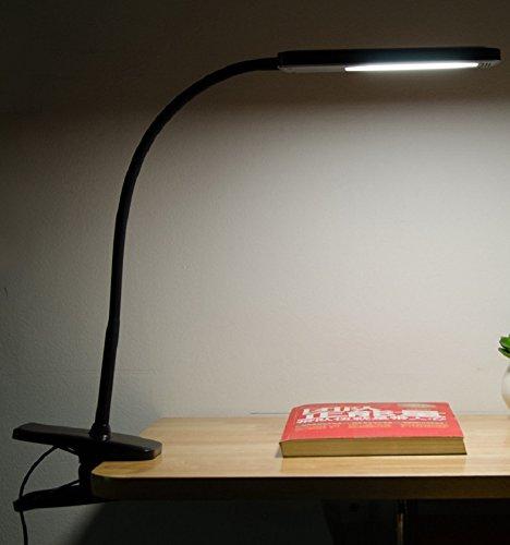 Suwaswe Black Desk Lamp Clamp Eye Care Led Reading Light