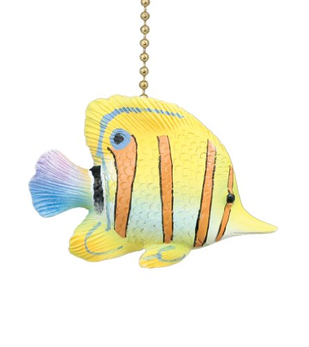 Yellow Ceiling Fan : Tropical yellow angelfish ceiling fan pull bulbs