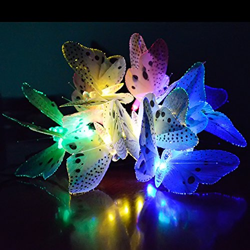 Ucharge Fiber Optic Butterfly Solar String Light 12 Led Colorful Lights  Beautiful Animal Design Decorative Lights for Garden, Lawn, Patio, Wedding,  ...