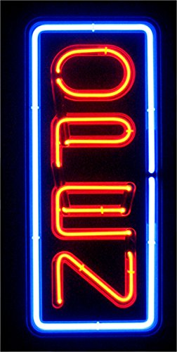 VERTICAL REAL GLASS BRIGHT NEON OPEN SIGN / LIGHT – NOT
