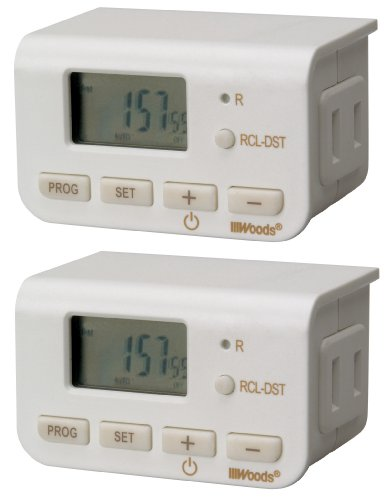 Woods 50007 Indoor Digital Lamp Timer, Daily Settings, 2-Pack