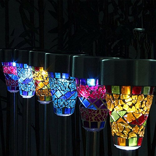 Xjamus garden solar led light color changing mosaic decoration stake pathway lights outdoor 3 for Solar garden stakes color changing