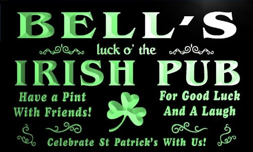 qv1058-g Bell's Luck o' the Irish Pub St  Patrick's Shamrock Neon Sign